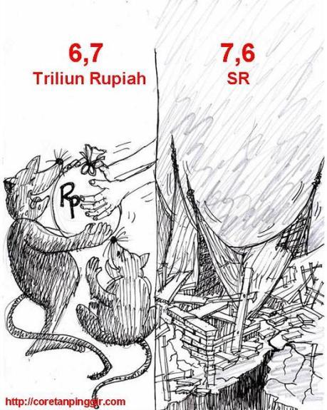 Karikatur bencana korupsi dan gempa