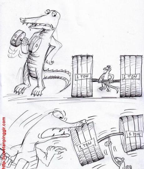 Karikatur angkat besi cicak dan buaya